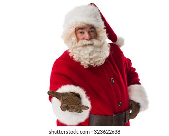 Santa Claus Portrait holding abstract object Isolated on White Background