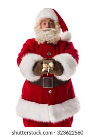 Santa Claus Portrait holding gift box Isolated on White Background