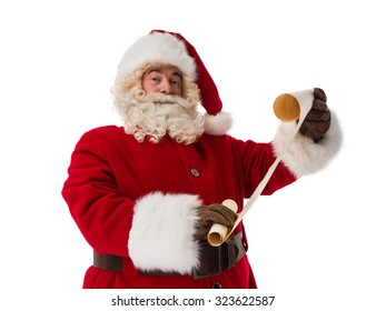 Santa Claus Portrait holding roll Isolated on White Background