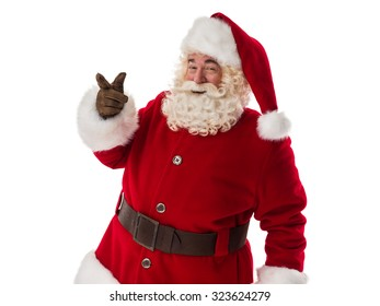Santa Claus Portrait pointing at copyspace Isolated on White Background