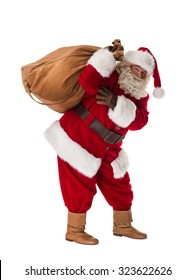 Santa Claus Portrait with sack Isolated on White Background