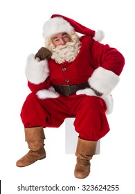 Santa Claus Portrait sitting pensive Isolated on White Background