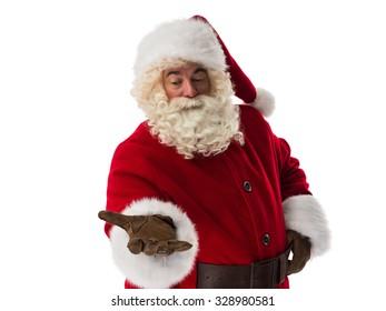 Santa Claus presenting new product Closeup Portrait