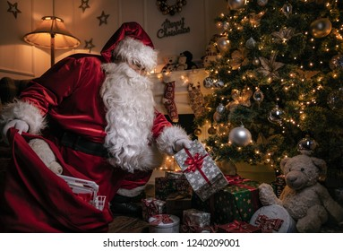 Santa Claus putting gifts under the christmas tree