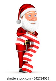 Santa Claus and a question mark on a white background