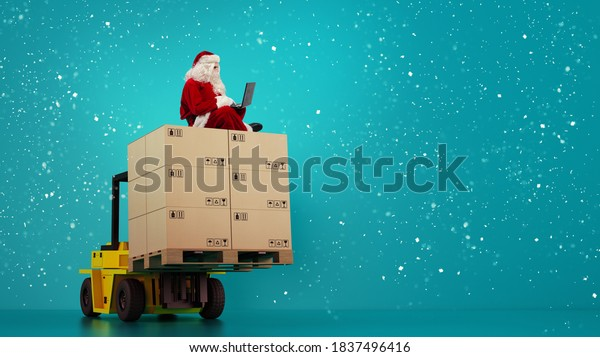 Santa Claus reads from laptop presents request and boxes to delivery