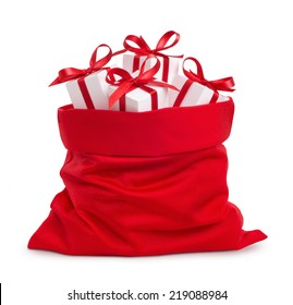 Santa Claus red bag with gifts, isolated on white background.