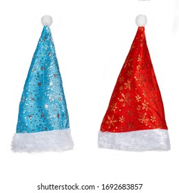 Santa Claus red and blue hats isolated on white background