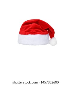 Santa Claus red hat isolated on white background. Red christmas hat or cap isolated on white