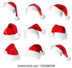 Santa Claus red hats isolated on white background