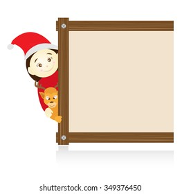 Santa claus and reindeer beside wood board on white background