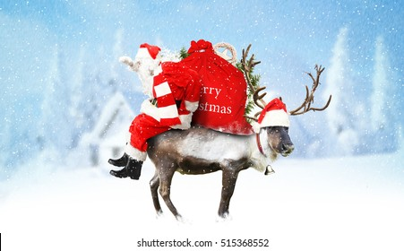 Santa Claus with reindeer and gifts on the country