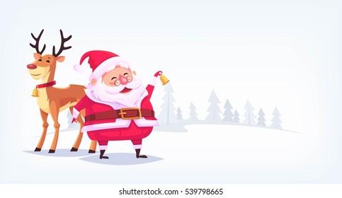 Santa Claus with reindeer Merry Christmas cartoon illustration