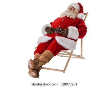 Santa Claus resting on deck chair Full-Length Portrait