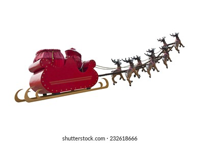 Santa Claus riding a sleigh in a day light led by reindeers isolated on white background