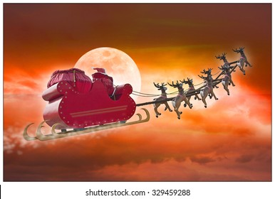 Santa Claus riding a sleigh led by reindeers on summer evening