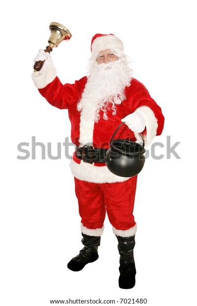 Santa Claus ringing a bell and collecting money for his favorite charity.  Isolated on white.