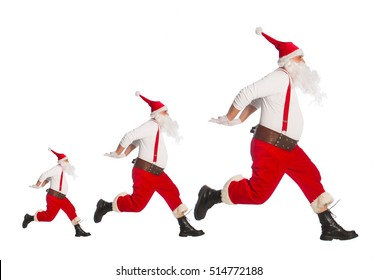 Santa Claus running to delivery christmas gifts on a white background