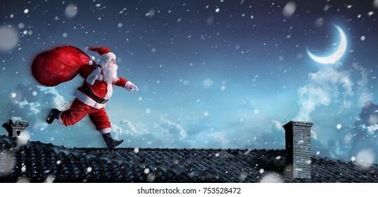 Santa Claus Running On The Rooftops - 3d illustration