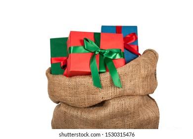 Santa claus sack on white background