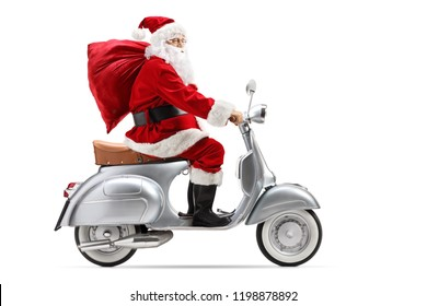 Santa Claus with a sack riding a vintage scooter isolated on white background