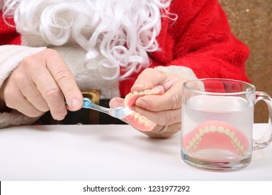 Santa Claus. Santa Claus says You are getting New Dentures for Christmas. Oral Hygiene and Tooth Care. Medical and Health Care.