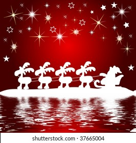 santa claus silhouette at the water