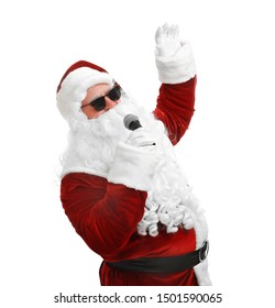 Santa Claus singing on white background. Christmas music