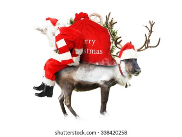 Santa Claus sitting on a reindeer with a red bag