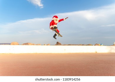 santa claus skate in the beach