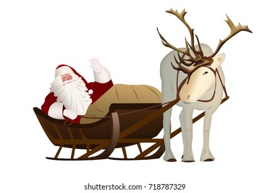 Santa Claus in a sleigh pulled by reindeer on a white background.
