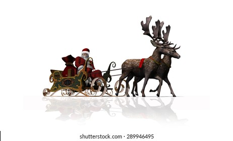 Santa Claus with sleigh and reindeer - isolated on white background
