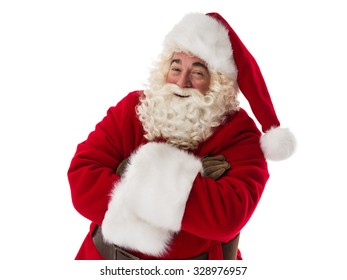 Santa Claus smiling with hands crossed Closeup Portrait