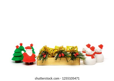 Santa Claus, Snowman, pine tree and gift box isolate on white background with copy space, Christmas prop for decoration.