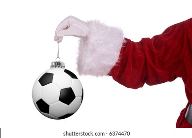 Santa Claus with soccer ball ornament in his white gloved hand