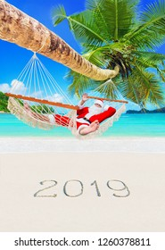 Santa Claus sunbathe in white cozy mesh hammock in shade of coconut palm tree at sandy ocean island beach with handwritten 2019 Happy New Year number. Tropical vacation concept