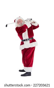 Santa Claus swings his golf club on white background