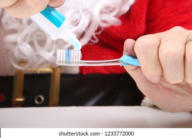 Santa Claus Tooth Brushing. Santa shows you how to brush your teeth. Santa says Clean Teeth and a Christmas Gift you can have Every Day of the year. See your dentist and brush often.