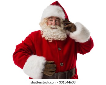 Santa Claus using mobile phone Closeup Portrait. Isolated on White Background