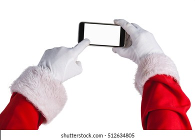 Santa claus using mobile phone against white background