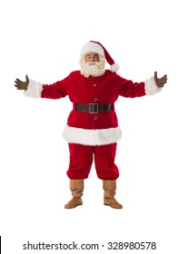 Santa Claus welcoming with open hands Full-Length Portrait