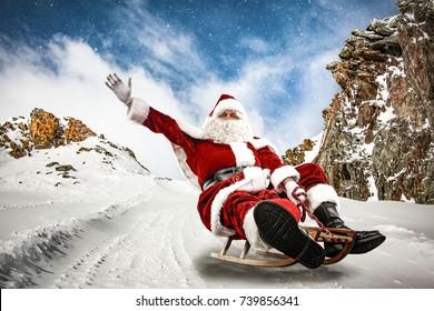 santa claus and winter road