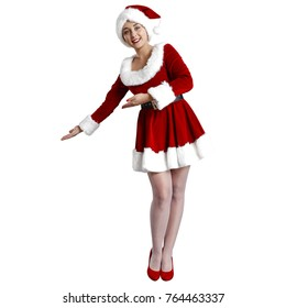 Santa claus woman in red dress and hat on white space