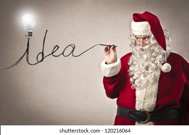Santa Claus writing the word idea