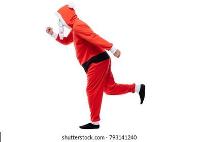Santa Claus. Young Happy Santa Man. Emotional Confident Santa Claus Having Fun. New Year. Stylish Colorful Xmas Holiday