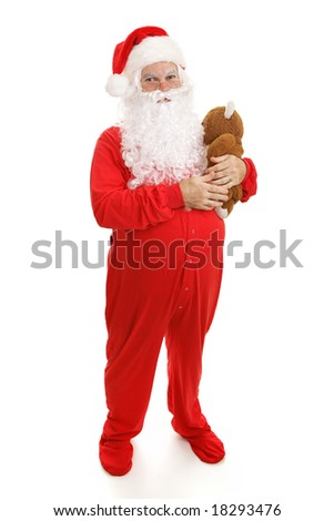 26aa7a6a66 Santa Clause in footy pajamas with his teddy bear. Full body isolated on  white.