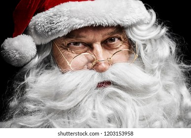 Santa claus's human face at studio shot