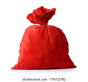 Santa Claus's red bag, full, on white background. File contains a path to isolation.