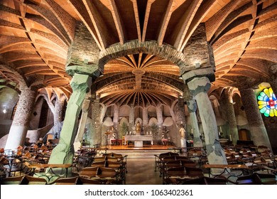 Santa Coloma de Cervello, Spain - November 12, 2017: Interior of the Church of Colonia Guell, built by Antoni Gaudi between 1898 and 1914, in Santa Coloma de Cervello, Spain.