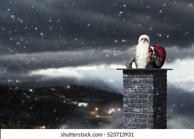 Santa is coming . Mixed media